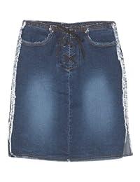 Plus Size Lace Up Frayed Skirt