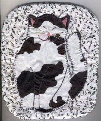 猫パターン – Happy Catパターン鍋つかみ – 7.5 X 9インチ – パターンだけ。 B00XRYAI2Q