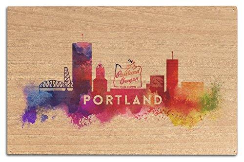 (Lantern Press Portland, Oregon - Skyline Abstract (10x15 Wood Wall Sign, Wall Decor Ready to Hang))