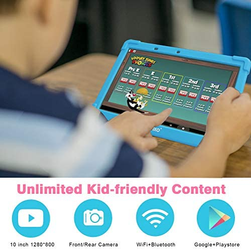 Contixo K101A 10 Inch IPS Display Kids Tablet With 2GB RAM 16GB ROM Android 10 Parental Control For Children Infant Toddlers At Home School, Educational Tablet For Kids, WiFi, Child-Proof Case (Blue)