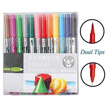 CanKun Dual-Pinsel-Pen-Set, 12 Farbe Aquarell Marker Pens Set ...