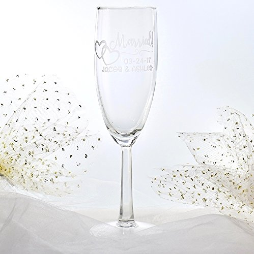 Set of 2 Engraved Personalized Married Double Heart Champagne Glasses Wedding Party Gift