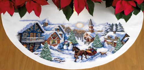sleigh ride tree skirt counted cross stitch kit 45 round 11 count