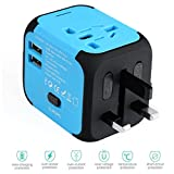 Blue Travel Adapter Worldwide All In One International Travel Adapter with Dual 2.4A USB Charging and Worldwide AC Wall Outlet Plugs for US UK EU AU & Asia Covers 150 Countries