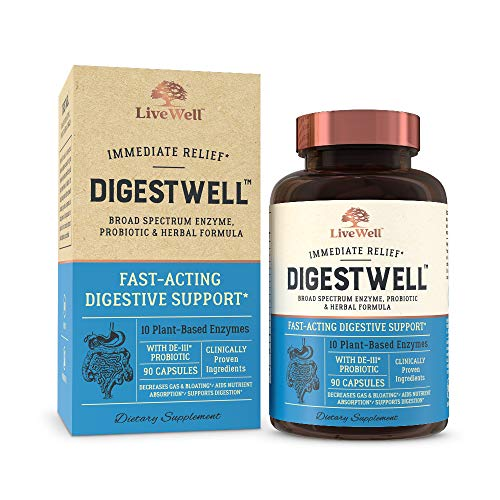 DigestWell Immediate Relief - Fast-Acting Digestive Support | Broad Spectrum Enzyme, Probiotic & Herbal Formula - Decreases Gas & Bloating - 90 Capsules (Best Immediate Constipation Relief)