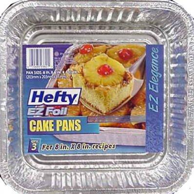Hefty Square Foil Cake Pan Dw Safe, Square 8