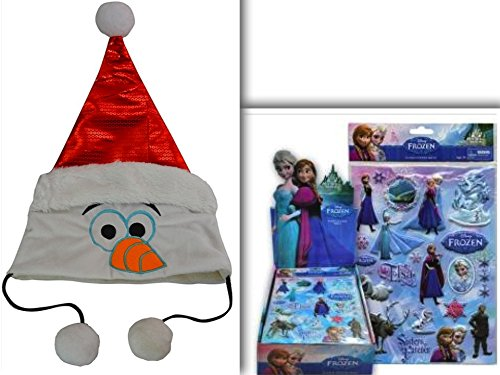 [Frozen Olaf Holiday & Costume Party Ice Adventure Bundle: 2 Items- Adorable Olaf Head Pom Pom Holiday & Christmas Hat with Sequins & 13 Piece Frozen Puffy Sticker] (Tinker Bell Child Tiara)
