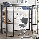 Metal Loft Bed Twin Size with Desk and
