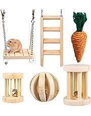HORYDIA Hamster kauwen speelgoed natuurlijke houten cavia speelgoed tanden zorg molar speelgoed voor hamster cavia chinchilla konijnen. (6 pack)
