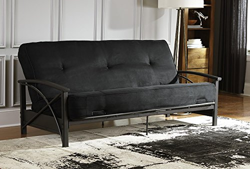 the all-black DHP Premium Futon Mattress folded in a sofa