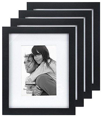 Malden International Designs Matted Linear Classic Wood Picture Frame, Black