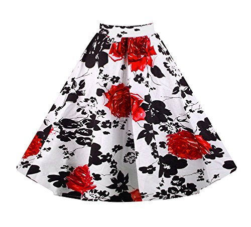 Killreal Women's Retro Fashion Floral Print A Line Full Circle Flare Skirt with Patterns White Medium