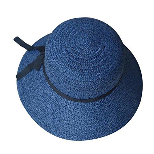 YJYdada Floppy Foldable Ladies Women Straw Beach Sun Summer Hat Beige Wide Brim (Navy) -