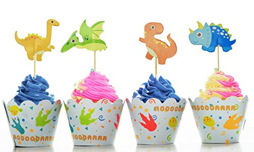 30 Cupcake Toppers With Picks Dragon Birthday Party Favors Kids Orange Green A1