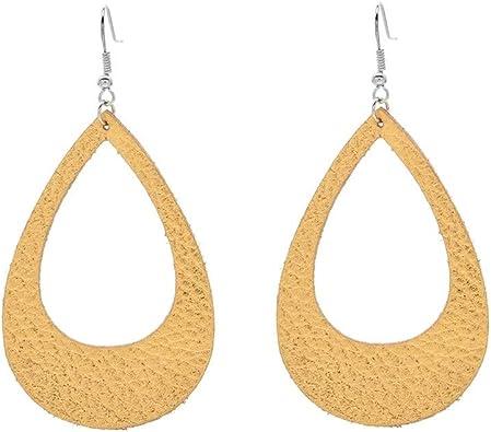 DYJELWD Genuine Leather Teardrop Earrings Hollow Lightweight Waterdrop Dangle Earrings for Women Girls