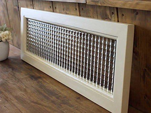 ガラスフレーム 木製ひのき フランス製チェッカーガラス片面仕様 60×20cm 北欧 アンティークホワイト 受注製作