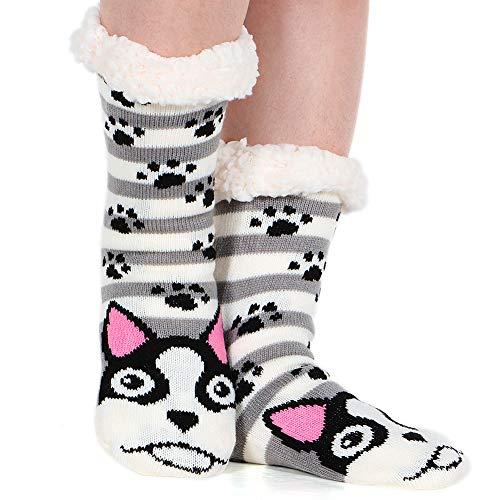 Fleece Lining Fuzzy Soft Christmas Knee Highs Stockings Slipper Socks (Dog-01) ()
