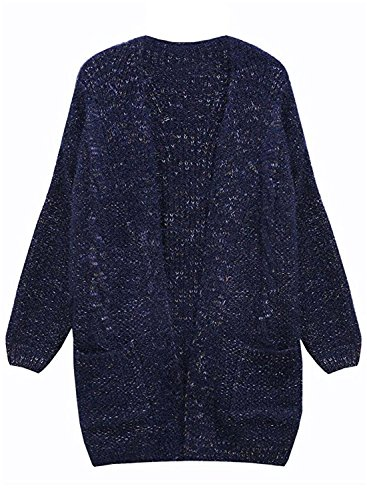 Manteau Veste Offener Hiver Chaud Bleu Cardigan ssige Hiver Tricots Femme Futurino Marine Automne Pockets Tricots L Knit 6qFTPzw