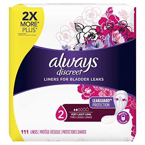 Always Discreet, Incontinence Liners for Women, Very Light, Long Length, 111 Count-Pack of 2 (222 Count Total)
