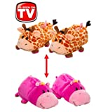 FlipaZoo Slippers Giraffe Transforming to Hippo Size Medium - Two in One Warm & Comfy Plush Slippers