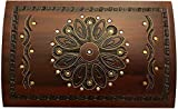 Large Flower and Holly Wood Jewelry Chest with Lock