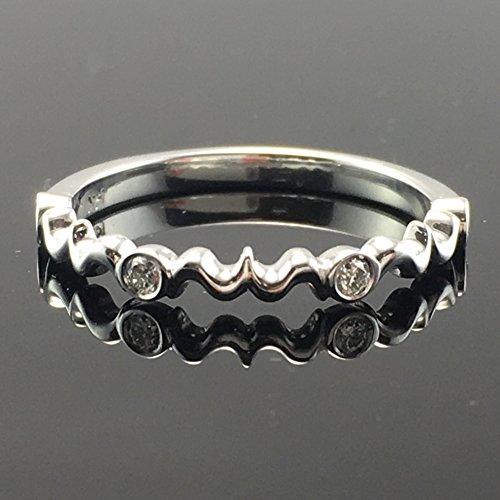 - Solid 18K White Gold Vintage Inspired Diamond Wedding Ring - Filigree Scroll Design Diamond Band