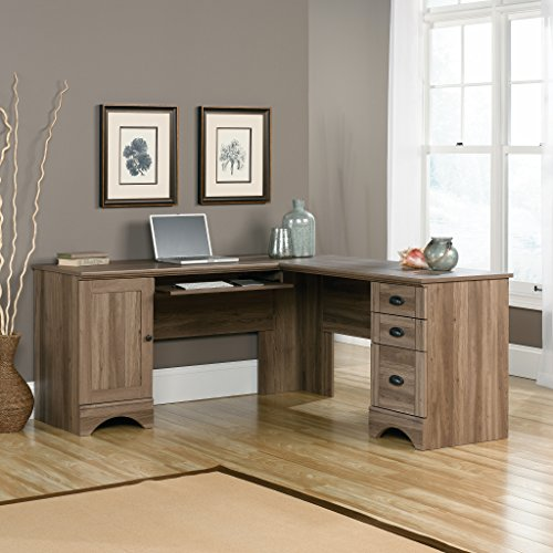 Sauder 417586 Harbor View Corner Computer Desk A2, Salt Oak (Computer Desk L Shaped)