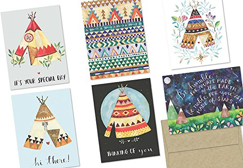 (72 Note Cards - TeePee Collection - 6 Designs - Blank Cards - Kraft Envelopes Included)