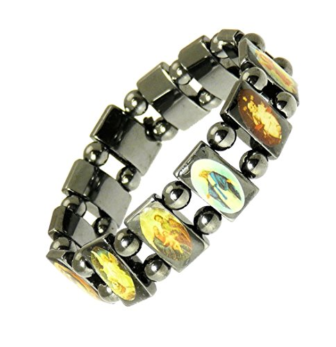 Neptune Giftware Magnetic Hematite Elasticated Saints/Jesus/All Saints Bracelet-113