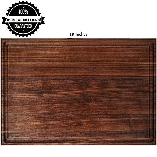 American Walnut Wood Cutting Board for Kitchen: 18x12x1.2 Large Reversible Thick Multipurpose Chopping Serving Hardwood with Juice Groove & Handles Edge Grain Handmade by Atomic Home ()