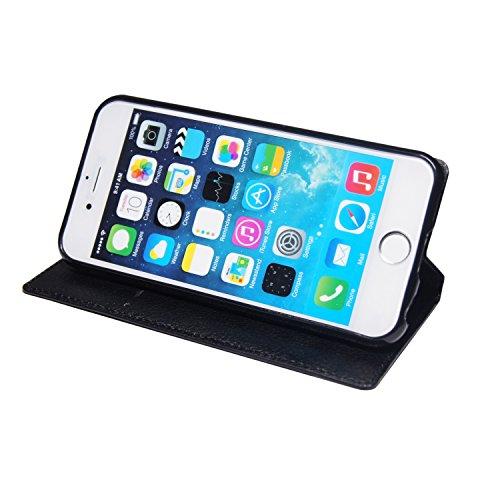 """Tasche für iPhone 6, 6s ( 4,7"""" Zoll ) Schutz Handytasche Schutzhülle Handy Flip Case Book Etui Wallet - Schwarz Kunstleder"""