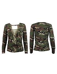 Susenstone Women Long Sleeve Shirt Slim Casual Blouse Camouflage Print Tops