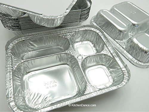 Disposable Aluminum 4 Compartment T.V Dinner Trays with Board Lid by Handi-Foil #4145L (25) (Tray Compartment Four)