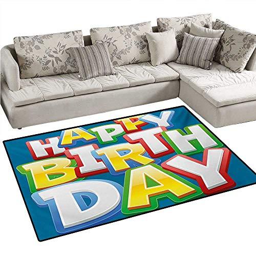 Kids Birthday Door Mats for Inside Rainbow Colored Happy Birthday Quote Typography on Blue Color Backdrop Print Bath Mat for Bathroom Mat 3'x5' Multicolor