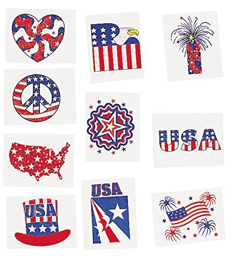 Glitter Patriotic Temporary Tattoos (6 dz)]()