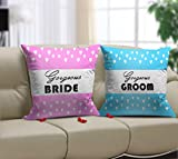 TiedRibbons Gift for Newly Married Couple Printed Set of 2 Cushions(12 Inch X 12 inch,Satin) with Fillers
