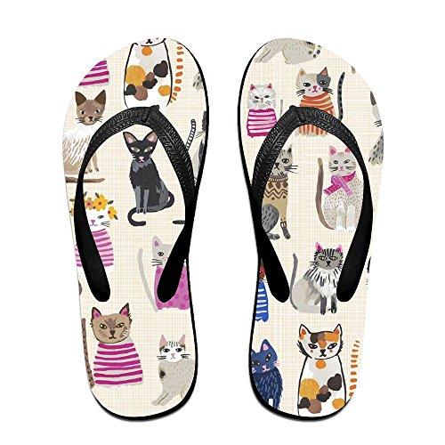 Unisex Cool Cats Sommar Rem Flip Flops Strand Tofflor Plattformar Sandal För Män Kvinnor Svart