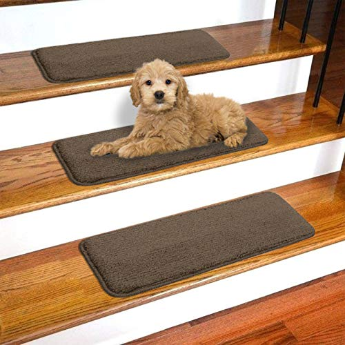 "Ottomanson Softy Solid Brown Set of 14 Skid Resistant Rubber Backing Non Slip Carpet (9""x26"") Mats 14 Piece Set 9 Inch by 26 Inch Stair Tread, 9"" X 26"