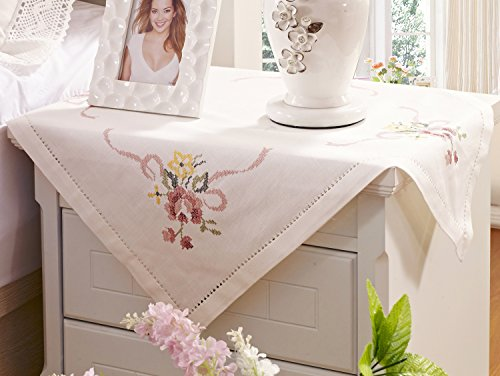 Embroidered Square Tablecloth - Tablecloth Small Table Christmas Embroidered Floral Square 60x60 cm White Linen Lace Home and Kitchen Easy Care Washable (Square 24