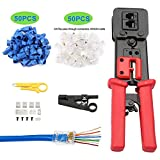 CHZHLM RJ45 Crimp Tool for Pass Through and Legacy Connectors 6P 8P Multi-Function Cable Cutter Cat5e Cat6 Crimping tool Network Wire Stripper with 50pcs Connetors and Covers Knives