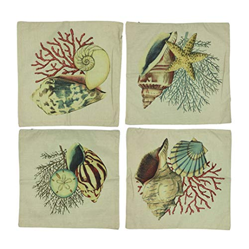 - CJESLNA 4 Pack Ocean Theme Squre Cotton Linen Throw Pillow Cushion Cover Case Conch Shell 17