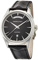 Hamilton Men's 'Jazzmaster' Swiss Automatic Stainless Steel and Leather Casual Watch, Color:Black (Model: H42565731)