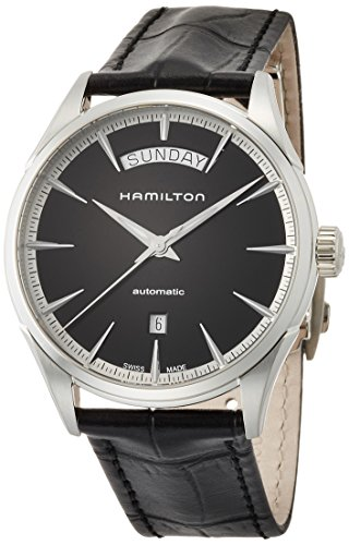 Hamilton Men's Jazzmaster Stainless Steel Swiss-Automatic Watch with Leather Calfskin Strap, Black, 22 (Model: H42565731)