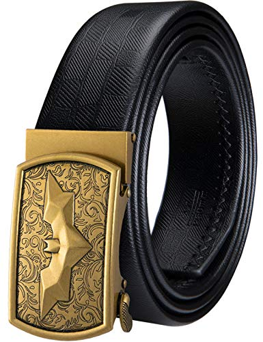 Mens Ratchet Belt,Batman Buckle Belt Fashion Genuine Leather Strap,Gift for Men