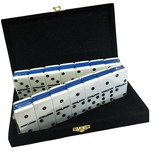 Domino Double Six - Blue & White Two Tone Tile Jumbo Tournament Size w/Spinners in Deluxe Velvet Case by Marion Marion & Co