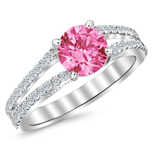 - 1.15 Carat 14K White Gold Classic Double Row Pave Set Split Shank Diamond Engagement Ring with a 0.75 Carat Natural Pink Sapphire Center (Heirloom Quality)