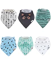 Baby Bandana Drool Bibs for Drooling and Teething - By BG Mini 6 Pack for boys or Girls Soft Absorbent 100% Organic Cotton Perfect Bibs - Absorbent Babies & Toddlers - Shower Gift
