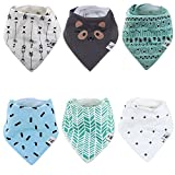 Baby Bandana Drool Bibs for Drooling and Teething - By BG Mini 6 Pack for boys or Gilrs Soft Absorbent 100% Organic Cotton Perfect Bibs - Absorbent Babies & Toddlers - Shower Gift