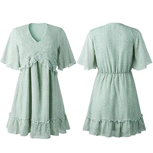 ECOWISH Womens Dress V Neck Ruffle Floral Printed Swing Summer Short Sleeve Sundress Casual Mini Dresses