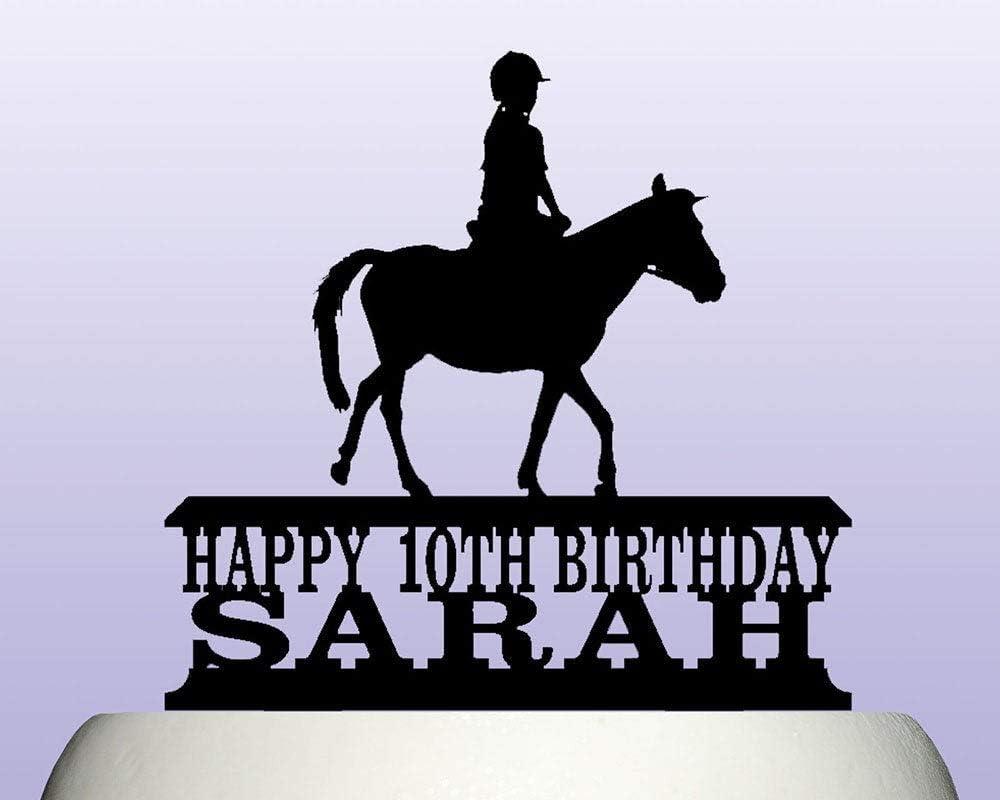 Decoración para tarta de caballo de acrílico personalizable, para mujer